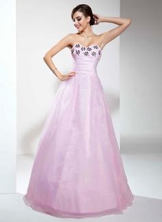 A-Linie/Princess-Linie Herzausschnitt Bodenlang Organza Quinceañera Kleid (Kleid für die Geburtstagsfeier) mit Rüschen Perlen verziert (021017446)