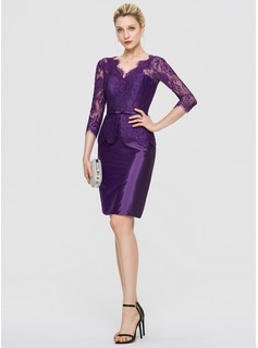 Sheath/Column V-neck Knee-Length Taffeta Cocktail Dress (016189344)