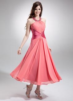 A-Linie/Princess-Linie U-Ausschnitt Wadenlang Chiffon Brautjungfernkleid mit Rüschen Perlstickerei Pailletten (007032258)