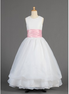 Flower Girl Dresses A-Line/Princess Scoop Neck Floor-Length Organza Charmeuse Flower Girl Dress With Sash (010014615)