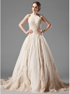 A-Line/Princess Halter Chapel Train Satin Tulle Wedding Dress With Lace Beading (002000154)