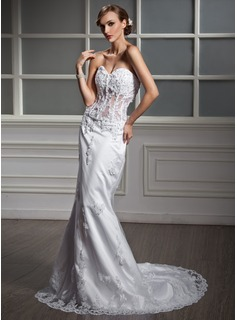Mermaid Sweetheart Chapel Train Satin Tulle Wedding Dress With Lace Beadwork (002011377)