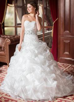 Ball-Gown Sweetheart Chapel Train Taffeta Organza Wedding Dress With Ruffle Lace Beading Sequins (002011636)