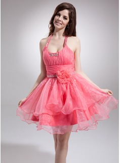 Sweet Sixteen Dresses A-Line/Princess Halter Short/Mini Organza Homecoming Dress With Ruffle Beading Flower(s) (022021050)