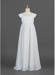 A-Line/Princess Floor-length Flower Girl Dress - Chiffon Short Sleeves Scoop Neck With Ruffles (010007293)
