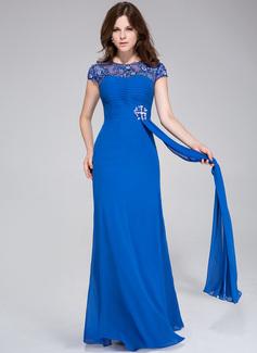 A-Linie/Princess-Linie U-Ausschnitt Bodenlang Chiffon Abendkleid mit Rüschen Spitze Perlen verziert (008025469)