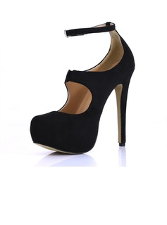 Suede Stiletto Heel Pumps Platform Closed Toe With Buckle shoes (085022612)