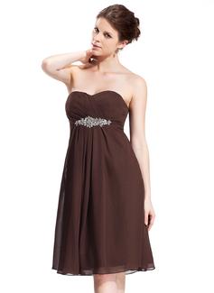Empire-Linie Herzausschnitt Knielang Chiffon Brautjungfernkleid mit Rüschen Perlen verziert (007026272)