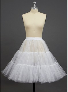 Women Tulle Netting Knee-length 2 Tiers Petticoats (037033987)