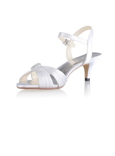 Women's Silk Like Satin Cone Heel Sandals Slingbacks With Buckle (047026750)
