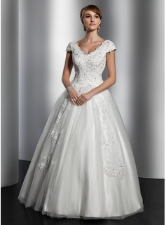 A-Line/Princess V-neck Floor-Length Tulle Wedding Dress With Lace Sequins (002014820)