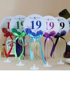 Personalized Lovely Rose Paper Table Number Cards With Holder With Ribbons (Set of 10) (118032255)