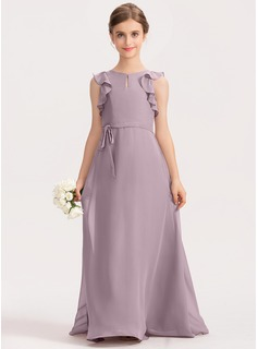 A-Line Scoop Neck Floor-Length Chiffon Junior Bridesmaid Dress With Bow(s) Cascading Ruffles (009191702)