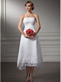A-Line/Princess Sweetheart Asymmetrical Organza Satin Wedding Dress With Lace Beading Sequins (002008177)