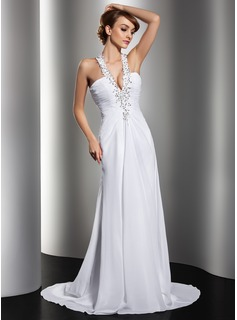 Sheath/Column Halter Sweep Train Chiffon Wedding Dress With Ruffle Lace Beadwork Sequins (002012134)