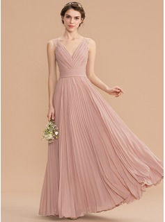 A-Line V-neck Floor-Length Chiffon Lace Bridesmaid Dress With Pleated (007176770)