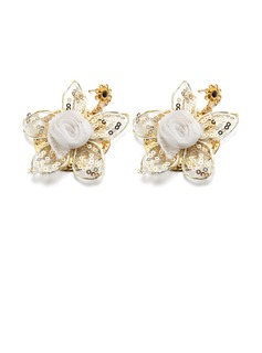 Flower Shaped Alloy/Lace/Gold Plated Ladies' Earrings (011057854)