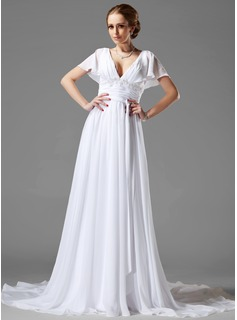 A-Line/Princess V-neck Chapel Train Chiffon Wedding Dress With Ruffle Beading Appliques Lace (002000687)