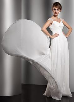 Forme Princesse Col V Traîne watteau Mousseline Robe de soirée avec Plissé Emperler (017005601)