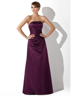 Sheath/Column Strapless Floor-Length Satin Bridesmaid Dress With Ruffle Beading (007001038)