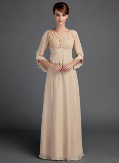 Empire-Linie V-Ausschnitt Bodenlang Chiffon Kleid für die Brautmutter mit Rüschen Spitze Perlstickerei (008015725)