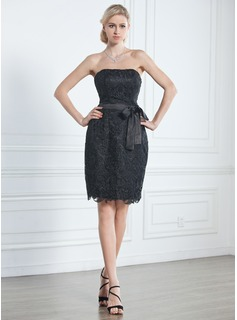 Sheath/Column Strapless Knee-Length Lace Little Black Dress (043005246)