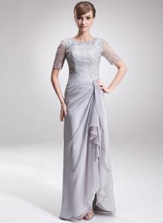 A-Linie/Princess-Linie U-Ausschnitt Asymmetrisch Chiffon Spitze Kleid für die Brautmutter mit Schlitz Vorn Gestufte Rüschen (008005621)