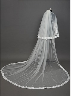 Two-tier Cathedral Bridal Veils With Ribbon Edge (006034432)