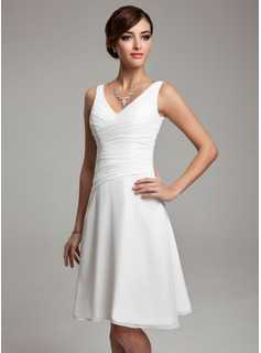 A-Line/Princess V-neck Knee-Length Chiffon Bridesmaid Dress With Ruffle Beading Sequins (007001083)