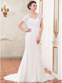 Trumpet/Mermaid Sweetheart Court Train Chiffon Lace Wedding Dress With Beading Sequins Bow(s) (002052652)