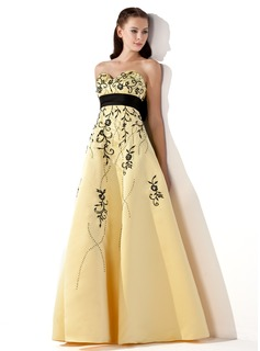 Empire Sweetheart Floor-Length Satin Prom Dresses With Embroidered Sash Beading Bow(s) (018002324)