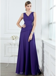 A-Line/Princess V-neck Floor-Length Chiffon Bridesmaid Dress With Ruffle Beading (007001053)
