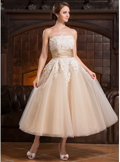 A-Line/Princess Strapless Tea-Length Tulle Wedding Dress With Beading Appliques Lace Sequins (002056491)