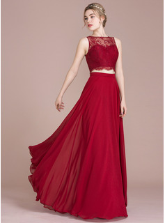 A-Line/Princess Scoop Neck Floor-Length Prom Dresses (018112634)