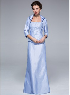 Sheath/Column Square Neckline Floor-Length Taffeta Mother of the Bride Dress With Ruffle Lace Beading (008018966)
