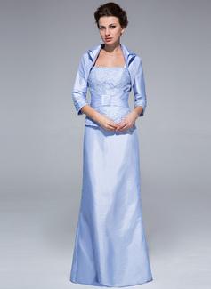 Etui-Linie Rechteckiger Ausschnitt Bodenlang Taft Kleid für die Brautmutter mit Rüschen Spitze Perlstickerei (008018966)