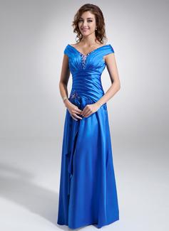 A-Linie/Princess-Linie Off-the-Schulter Bodenlang Charmeuse Kleid für die Brautmutter mit Rüschen Perlstickerei Pailletten (008006296)