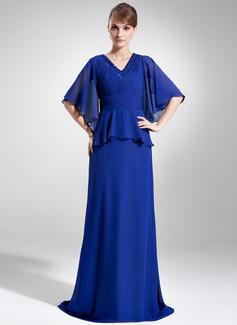 A-Linie/Princess-Linie V-Ausschnitt Sweep/Pinsel zug Chiffon Kleid für die Brautmutter mit Perlen verziert Pailletten Gestufte Rüschen (008006073)