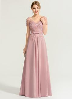 A-Linie/Princess-Linie V-Ausschnitt Bodenlang Strech-Krepp Abendkleid mit Perlstickerei (017167676)
