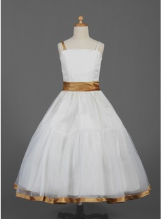 Ball Gown Ankle-length Flower Girl Dress - Organza/Satin Sleeveless Straps With Ruffles/Sash (010016360)