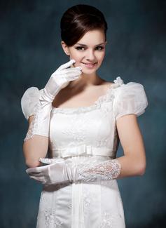 Satén elástico Codo Largo Guantes de novia (014020477)