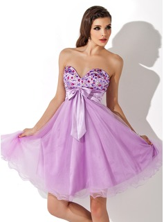 Empire Sweetheart Knee-Length Charmeuse Homecoming Dress With Ruffle Beading (022007287)