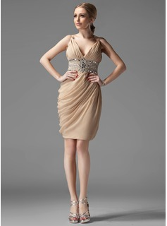 Cocktail Dresses Sheath V-neck Knee-Length Chiffon Cocktail Dress With Ruffle Beading (016002945)