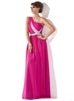 Forme Princesse Encolure asymétrique Longueur ras du sol Mousseline Robe de soirée avec Plissé Emperler Sequins (017005592)