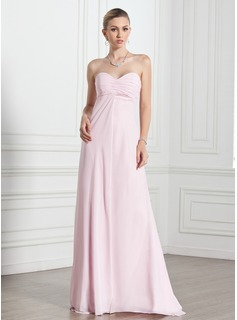 Ballkleider Empire-Linie Herzausschnitt Bodenlang Chiffon Abendkleid mit Rschen (017005269)