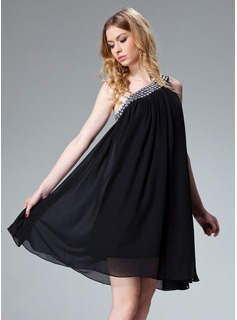 A-Line/Princess One-Shoulder Short/Mini Chiffon Holiday Dress With Ruffle Beading (020003242)