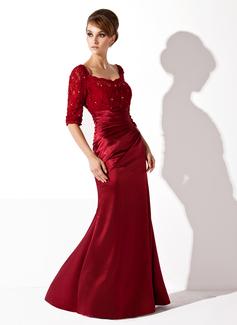 Trompete/Meerjungfrau-Linie U-Ausschnitt Bodenlang Charmeuse Spitze Kleid für die Brautmutter mit Rüschen Perlen verziert (008005955)