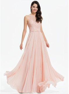 A-Line Scoop Neck Floor-Length Chiffon Evening Dress With Lace Pleated (017196079)