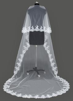 Uno capa Con Aplicación de encaje Velos de novia catedral con Apliques (006053196)
