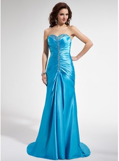 Sheath Sweetheart Sweep Train Charmeuse Prom Dress With Ruffle Beading Sequins (018004829)